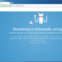 Twitter's home page error message