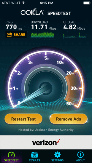 IPhone 6, Exede speed test