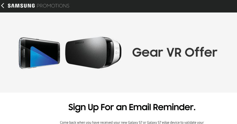 Free Samsung Gear VR Promotion