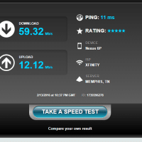 WiFi speedtest results, EXCELLENT