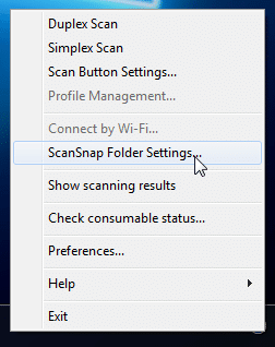 Choose ScanSnap Folder Settings