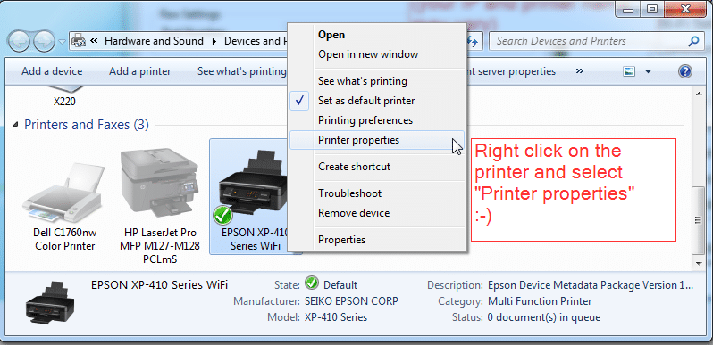 Printers -> Printer Properties