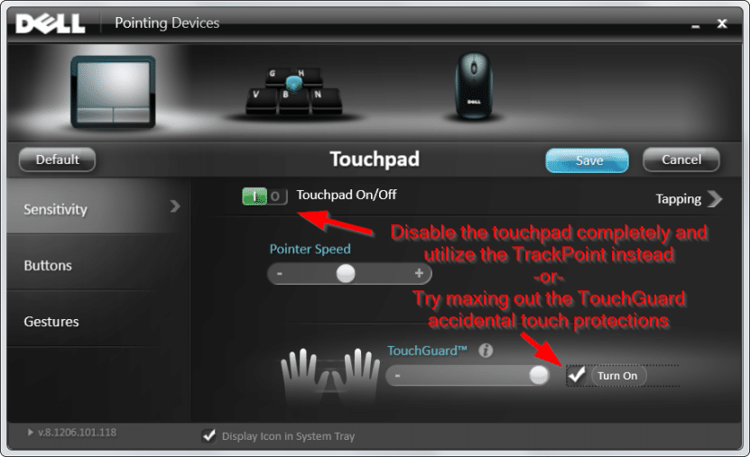 Disable trackpad -or- Use TouchGuard