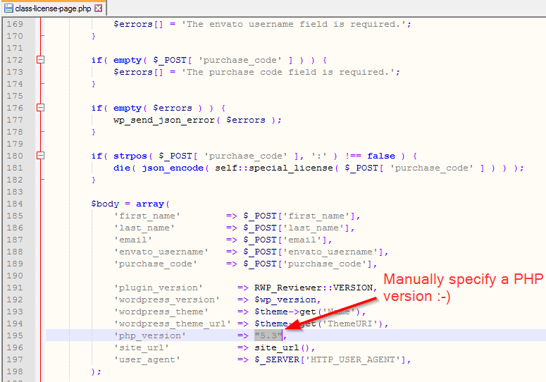 Manually specifying PHP version