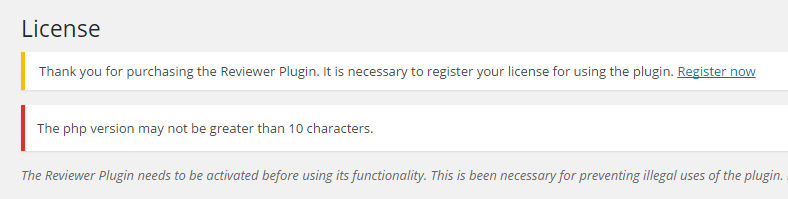 The php version may not be greater than 10 characters.