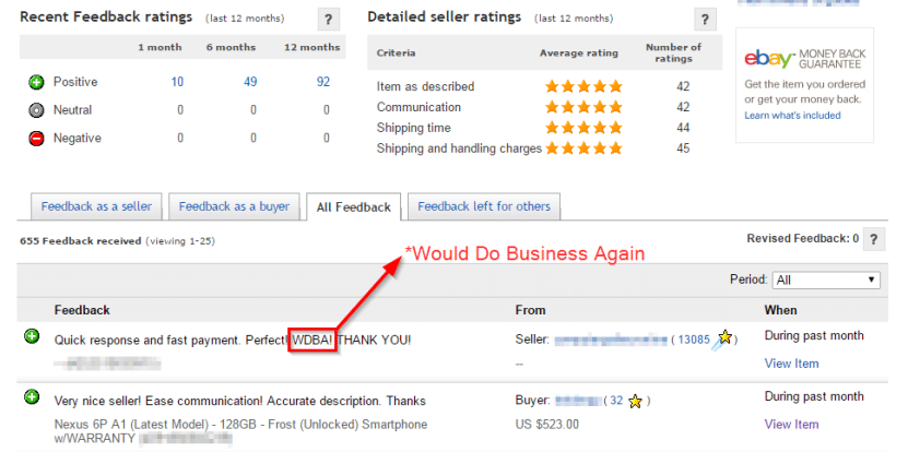 Using WDBA in eBay transaction feedback
