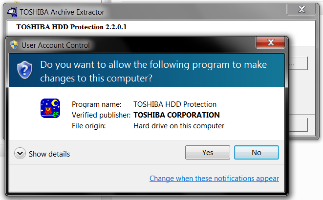 Toshiba HDD Protection Utility - Windows 7 x64