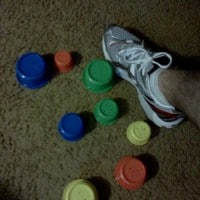 """""""3"""" made of out of my daughter's play blocks and my shoe!"""