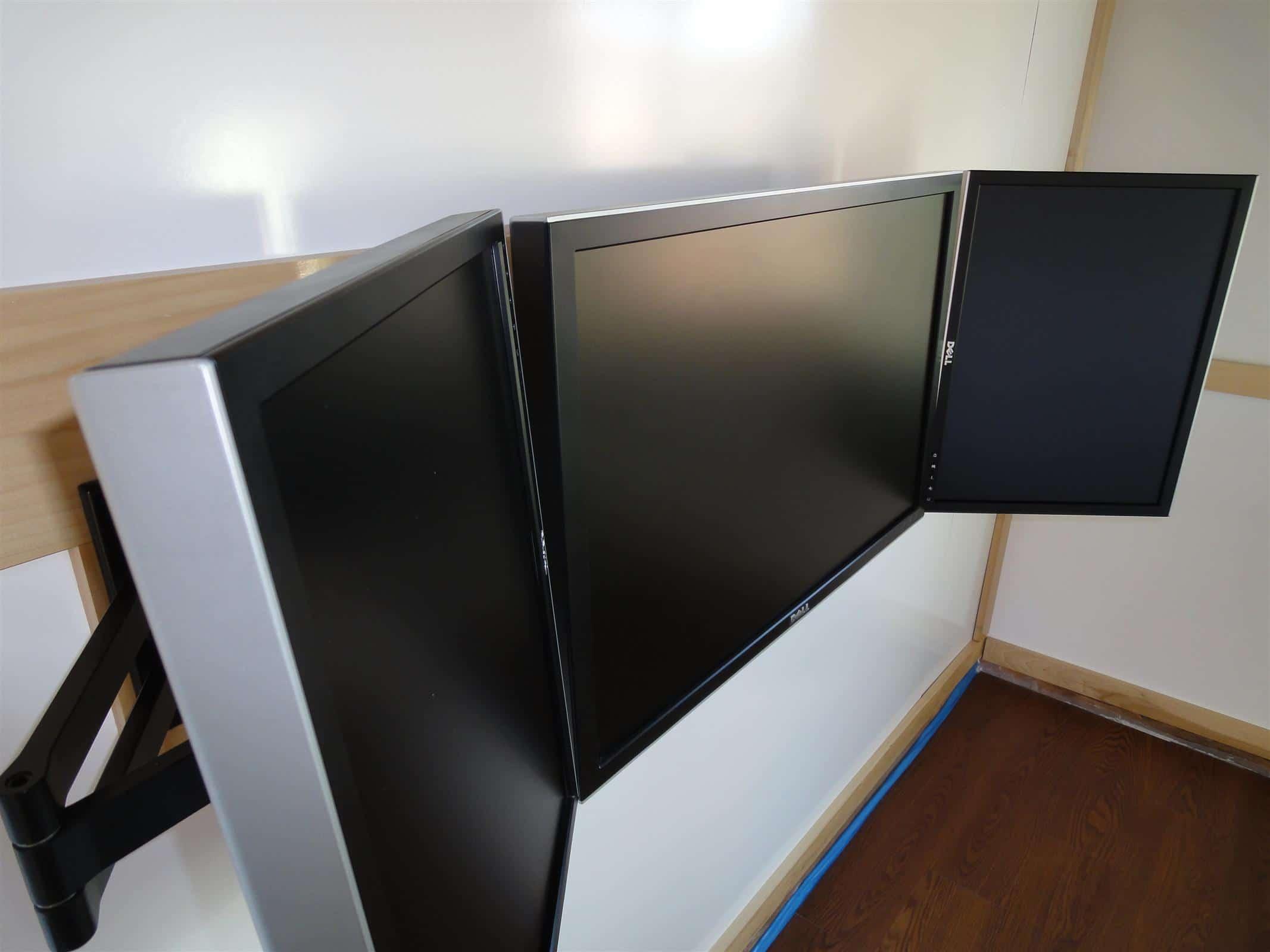 Wall Mounted Triple Monitors