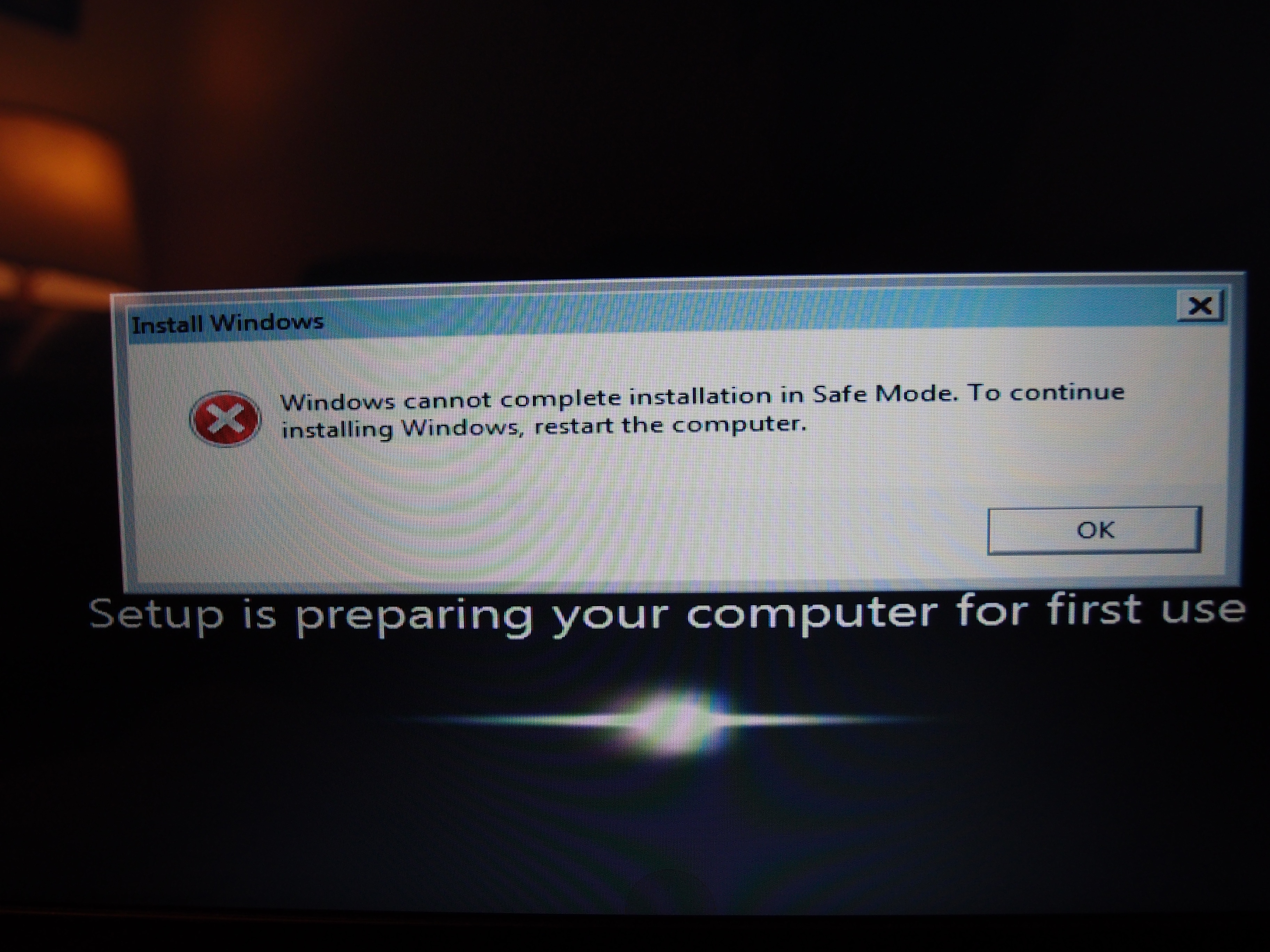 Windows cannot complet...