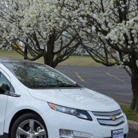 White Chevy Volt next to a blossoming tree