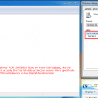 The SMO8810 unknown device listing as shown in Device Manager and the properties page