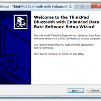 Installation dialog for the driver