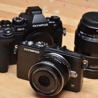 Olympus 17mm lens (forefront) and 12-40mm (background)