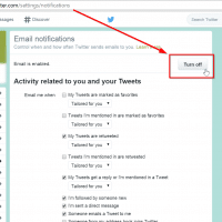 Turn off email notifications from Twitter