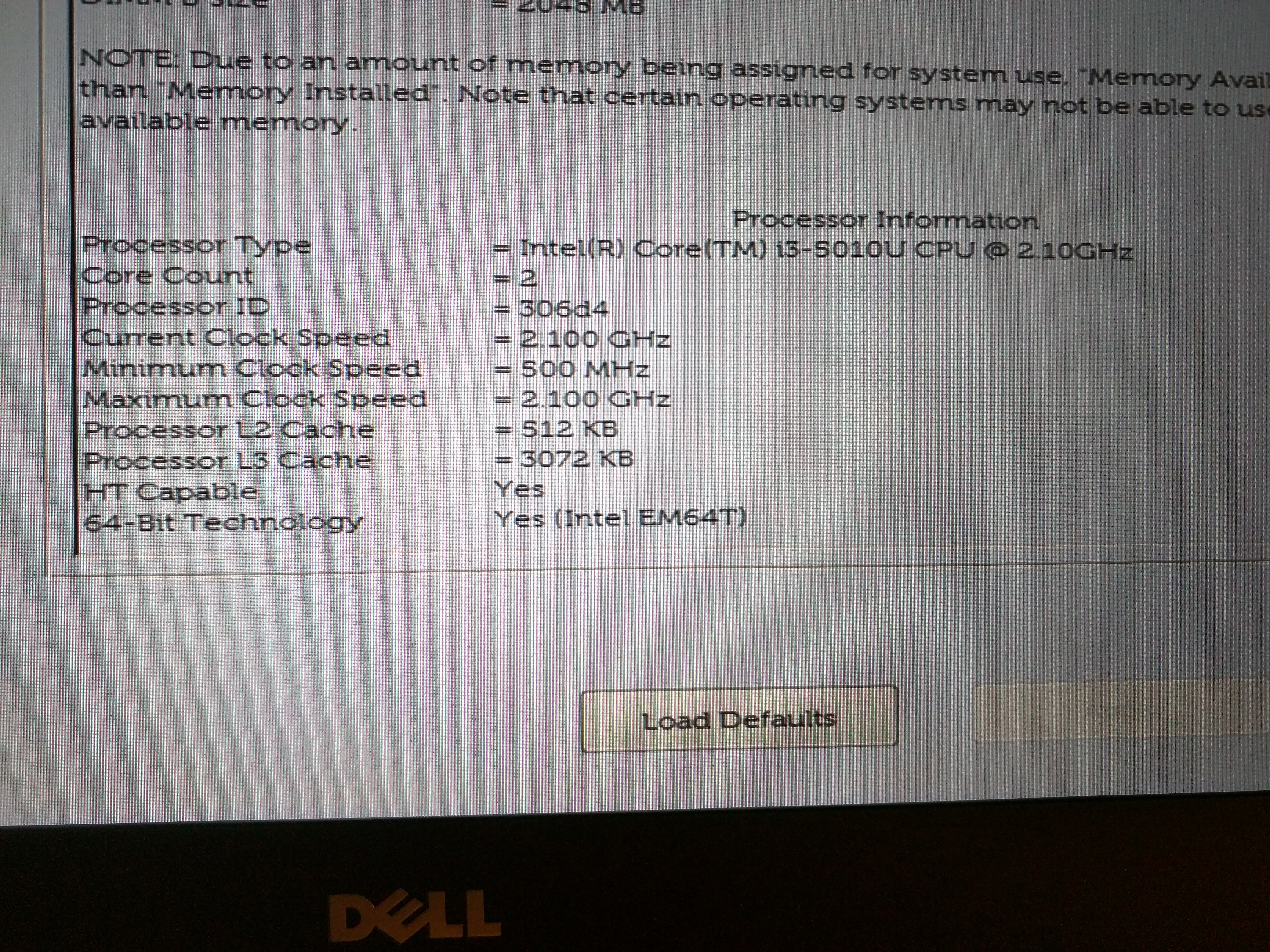 XPS 13 CPU and system info in the Dell UEFI BIOS screen