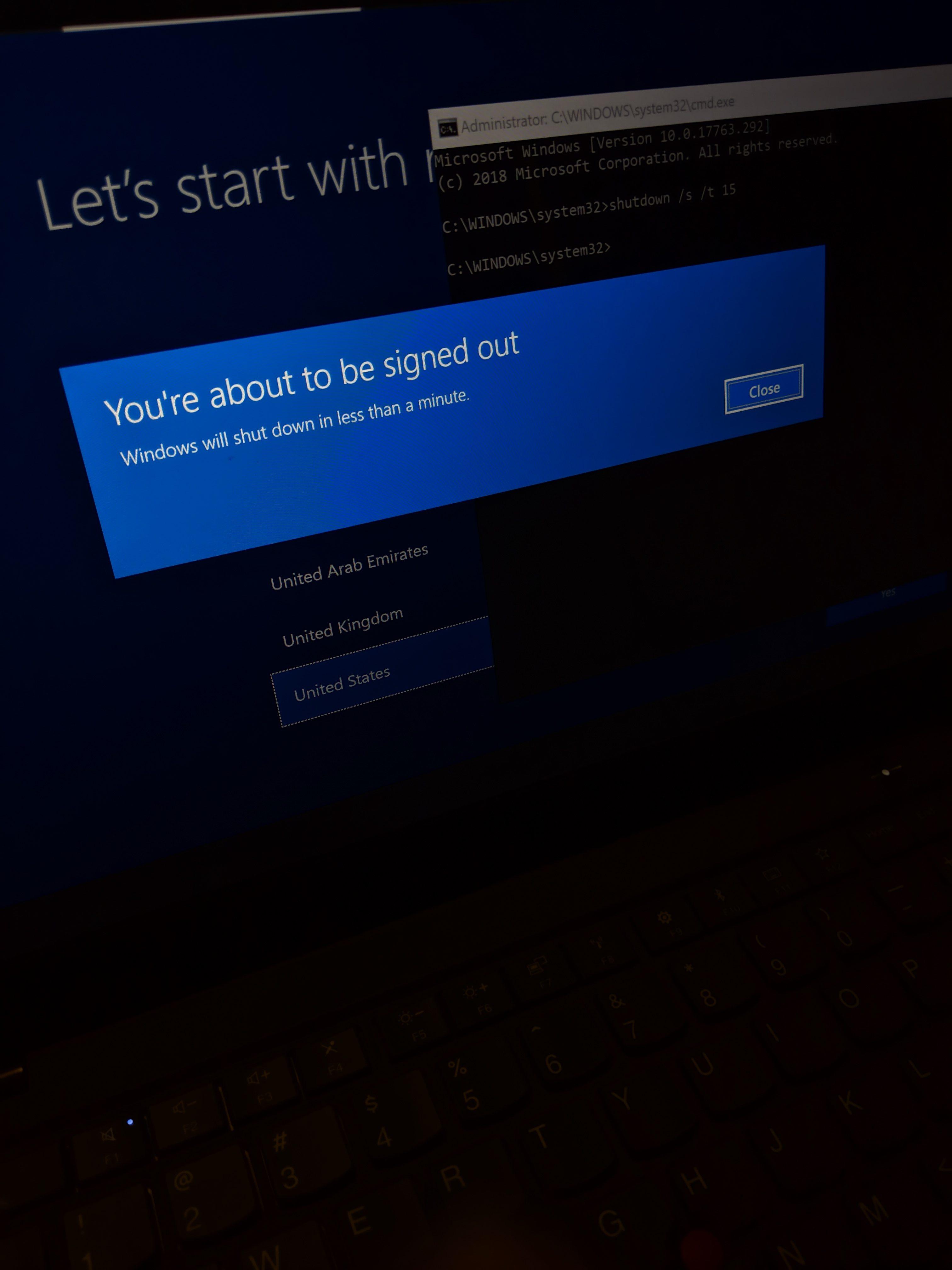 How to shutdown laptop during windows 10 initial setup (Set