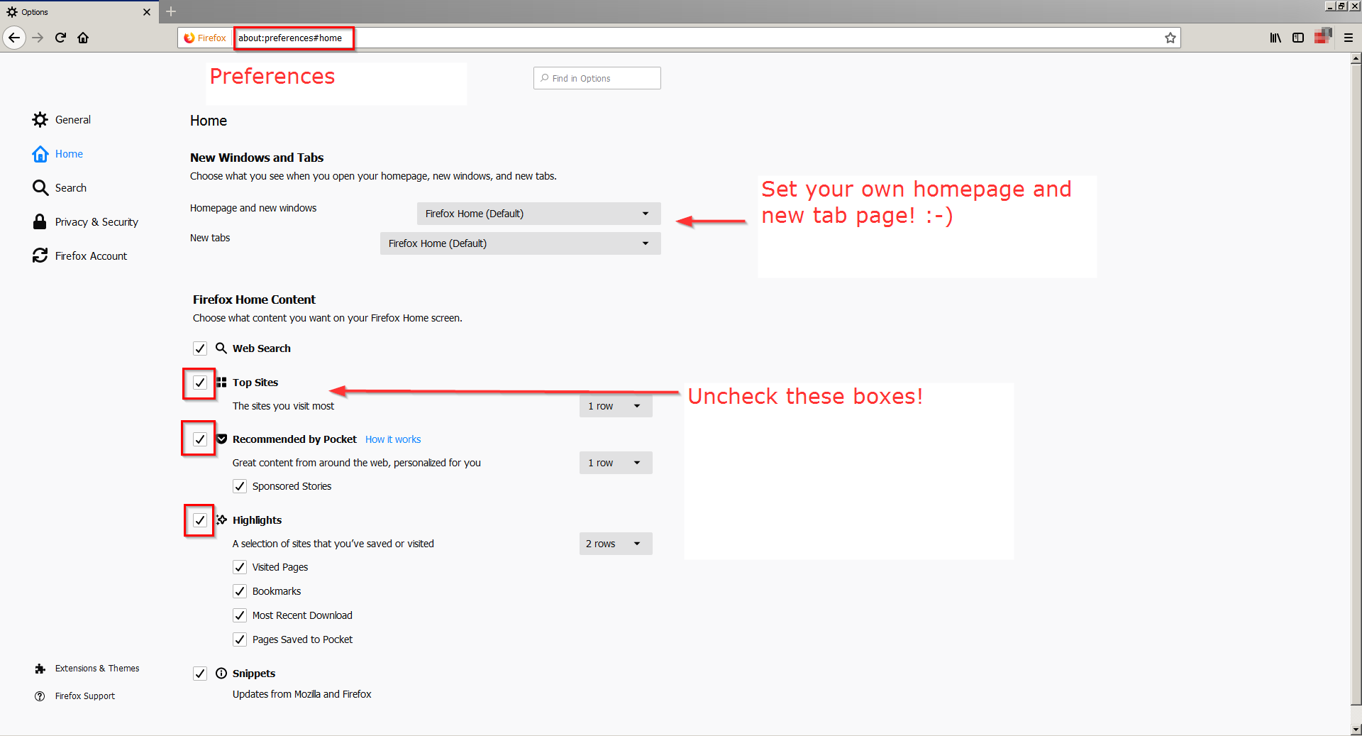 Change FireFox startup page top sites, recommended by pocket